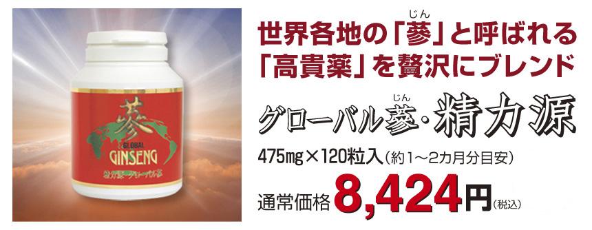 グローバル蔘 ・精力源120粒入8,424円税込・送料無料